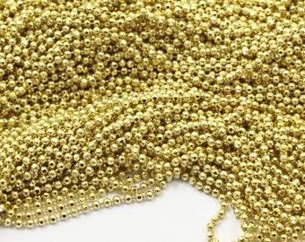 Brass Ball Chain, 5m (1.5mm) Raw Brass Faceted Ball Chain - Ch005 ( Z032 )