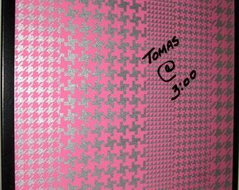 Houndstooth .. Magnet Dry Erase Steel Memo Board / Housewarming Gift / Wall Decor / Desk / Office Decor / Organization / Friend / Pink Decor