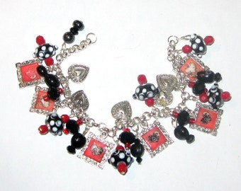 Punk Rock Gothic Hearts Altered ARt Charm Bracelet in Red and Black SALE