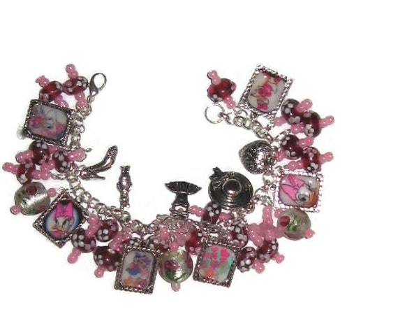 Daisy Duck  Altered Art Charm Bracelet in Pink