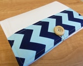 List Taker, Organizer, Coupon Holder,  Aqua and Navy Chevron by Riley Blake, Notepad And Pen/Pencil Included