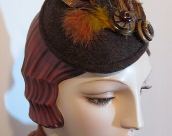 ON SALE/ Tweed with Faux Feather Fascinator