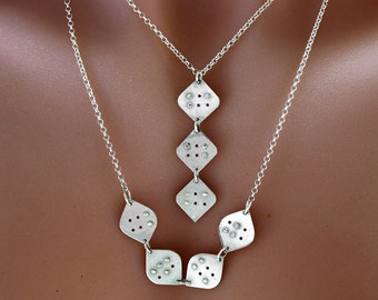 Personalized Braille FOUR  initial/letter Necklace in sterling silver,Custom necklace, braille jewellery,unisex jewelry, unique gift, gift