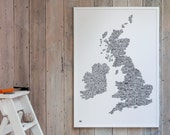 Extra Large UK and Ireland Hand Drawn Illustrated Map - decorative screen print