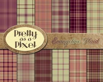 Digital Paper Pack - Evangeline Plaid - Scrapbooking Backgrounds - Set of 12 - INSTANT DOWNLOAD