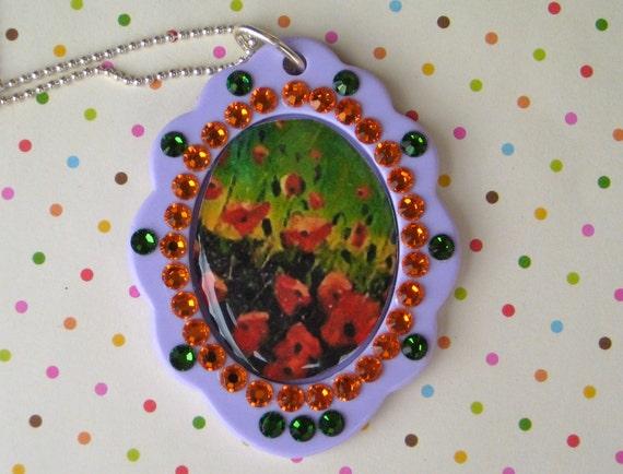 Poppy Field Pendant Necklace Kawaii Girly Feminine