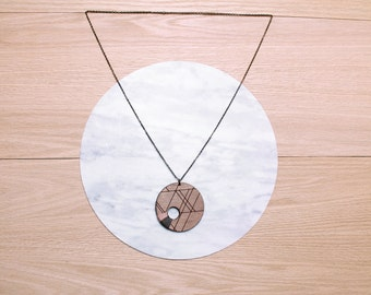 Sale -  - ORBIT - geometric, laser cut/etched & string wrapped walnut necklace - 4 color combinations available