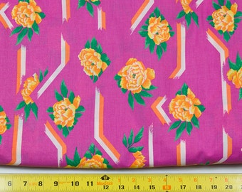 Pink Cotton Fabric, Flower Fabric, Bright pink, Yellow Flowers, Green Leaves, Lattice design, Sold by the Yard, 43 inches wide