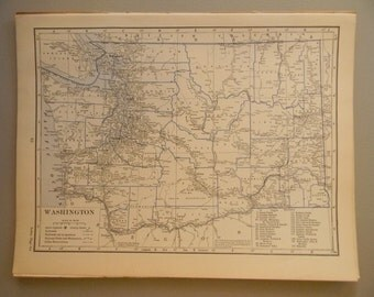 1934 State Map Washington - Vintage Antique Map Great for Framing
