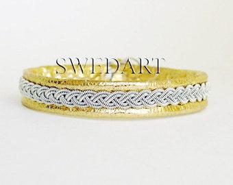 SwedArt B12 Sami Lapland Leather Bracelet Pewter Braid Antler Button Gold MEDIUM