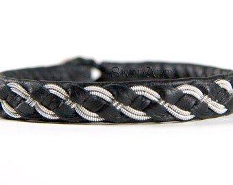 SwedArt B07 Viking Lapland Sami Leather Bracelet Pewter and Silver Braid Antler Button Black X-SMALL
