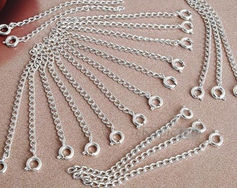 20 X Silver Plated Necklace Chain Extender with Clasp HOT Jewelry Findings M799