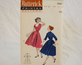 Vintage Butterick 7042 sewing pattern, 1950s, fitted bodice, flared skirt, New Look, uncut, Bust 34