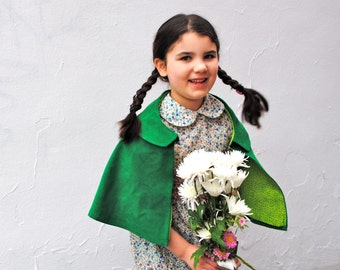 Girls Cape- Green Corduroy Capelet with Peter Pan Collar - Spring Fashion