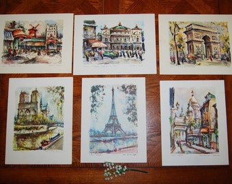 Vintage Paris Water Colors by Marius Girard.......Collection of SIX