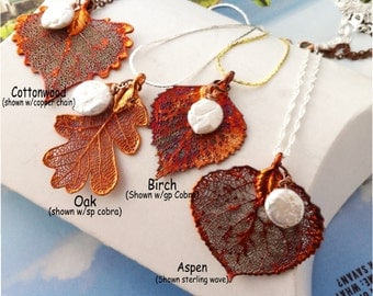 Fall Bridal Bridemaid Wedding Necklace SET, Real Leaves in Fall Copper, FOUR pendant necklaces with freshwater pearls