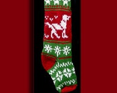 Hand knit Christmas stocking,  Personalized, made of pure wool yarn,  fully lined -- dog and snowflake