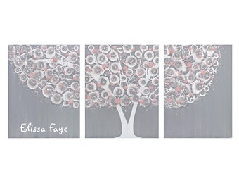 Baby Girl Name Art Personalized - Gray and Pink Nursery Wall Art Tree Painting Canvas Triptych - Large 50x20 - MADE TO ORDER