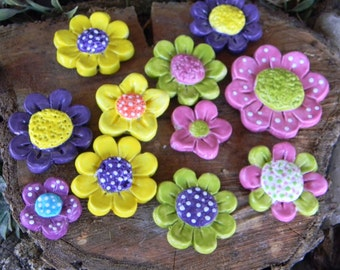 3 Poppy Daisy  Ceramic Flower Cluster -   Brights Flower Stakes for plant markers or planters ceramic hand made