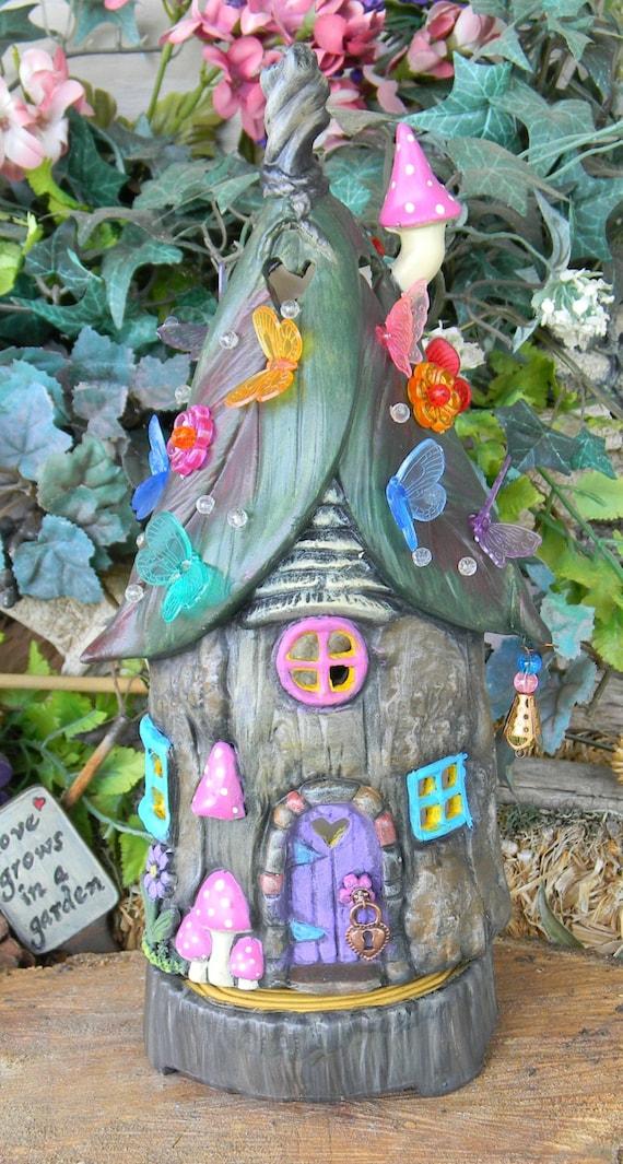 Fairy House Tree Stump Leaf Roof Dream By Enchantdmushroomland