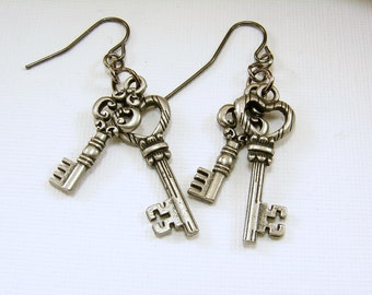 Gunmetal Keys Earrings