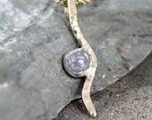 Raw Diamond Necklace - Rough Diamond Pendant - 10K Yellow Gold - April Birthstone - Rustic Jewellery-Raw Gemstone Necklace
