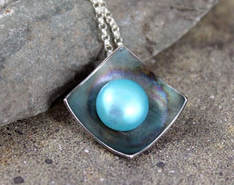 Pearl Pendant - Sterling Silver - Robin's Egg Blue Fresh Water Pearl - Organic Gemstone Necklace - Rustic Modern Jewellery - June Birthstone