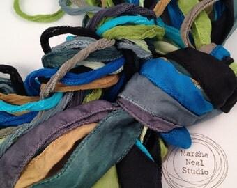 Silk Ribbon - Hand Painted Silk - Silky Ribbon - Fairy Ribbon - Jewelry Supplies - Wrap Bracelet - Craft Supplies - Blue Green Waters