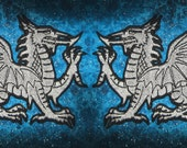 Welsh Silver Dragon Heraldic Heraldry  Iron on Patch Pair