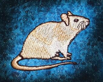 Fancy Cream Self Rat Steam Punk  Iron on Patch