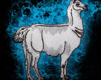 Epic White Llama Lama glama  Iron on Patch