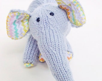 Baby Blue Knit Stuffed Elephant Toy