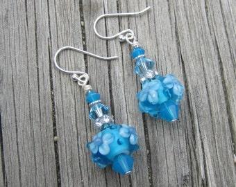 Light Blue Lampwork Earrings.