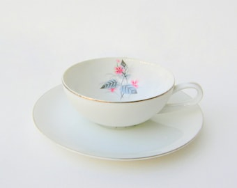 Mid Century Modern Bone China: Pair of Cup & Saucers by Mikasa Narumi, Atomic Floral 'Lyric' Pattern in Pink, Charcoal, Black