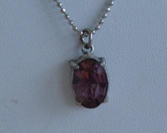 Pretty Vintage Amethyst Pendant Necklace, Silver tone