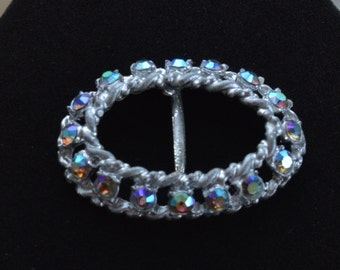 Pretty Vintage Aurora Borealis Rhinestone Buckle, Silver tone
