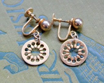 Vintage Earrings Gold Tone Screw Back Medallion Dangle