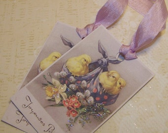 Easter Tags French Vintage Style Joyeuses Paques Set of 6