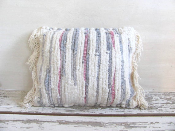 Vintage Shabby Chic fabric throw pillow // Rag Rug woven