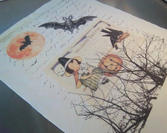 Halloween fabric panel handmade  witch pumpkin bird art journal sewing supply primitve folk art decoration unique home decor
