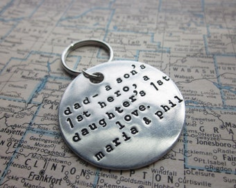 The Gerald Key Chain - Custom Message Hand Stamped Key Chain - Large