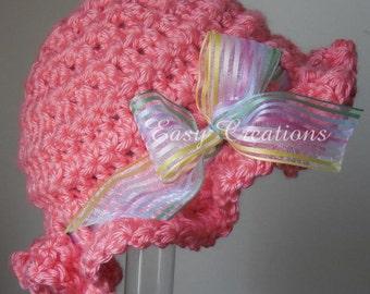 CROCHET PATTERN Ruffle Hat Star Stitch brim beanie baby girl babies girls skill level intermediate