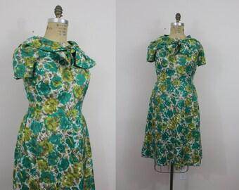 1950s vintage dress / 50s green rose print dress / 50s plus size garden party dress / sz XL