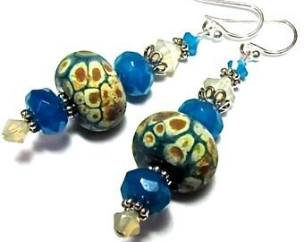 Organic Earrings Lampwork Earrings Aqua Earrings Unique Earrings Artisan Earrings Glass Earrings Beaded Earrings Glass Bead Earrings