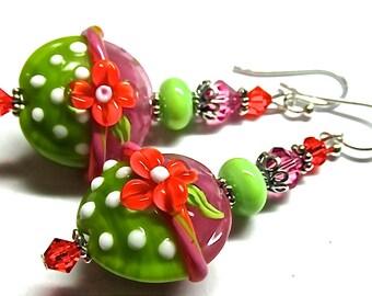 Green Earrings Floral Earrings Pink Earrings Lampwork Earrings Flower Earrings Glass Earrings Beaded Earrings Artisan Earrings