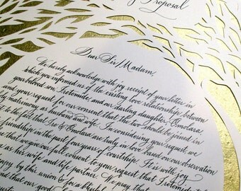 Set of Two Nigerian Wedding Proposal and Acceptance Letters with Papercut Painting and Calligraphy
