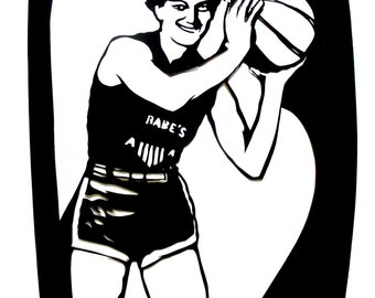 Babe Didrikson Print - papercut silhouette portrait of Babe Didrikson - all around athlete and Olympic star - PIF