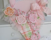 Shabby Chic Rose Cone Treat Bag Gift Card Holder