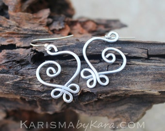Aluminum. Small. Celtic. Heart. Earrings.