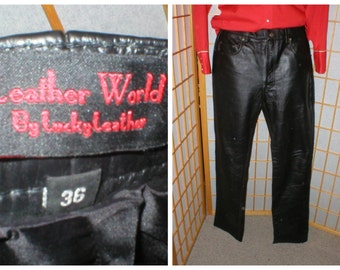 80s black leather pants by Lucky Leather mens size 36 / large